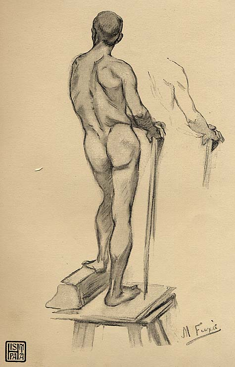 Fux�: Study on a men symbolizing the work (Monument to Rius i Taulet, a Major of Barcelona) Source: Art journal Hispania n� 63 de 30-9-1901