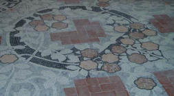 Floor mosaic in the Music room of Institut Pere Mata in Reus, architect Llu�s Dom�nech i Montaner, mosaic by Llu�s Br�.