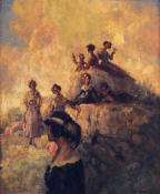 "Riquer: Painting ""Outing to Vallvidrera"" - 1911 - oil painting"