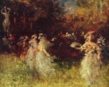 "Riquer: Painting ""Watteau party"" oil painting"