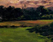 "Riquer: Painting ""Field with clouds"" - oil painting -"