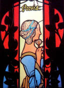 "Riquer: Stained glass ""Poesia"" (Poetry, in the Cercle del Liceu - Barcelona -)"