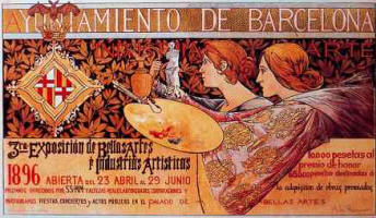 Alexandre de Riquer: Poster of the  3� Exposici� de Belles Arts i Industries Art�stiques
